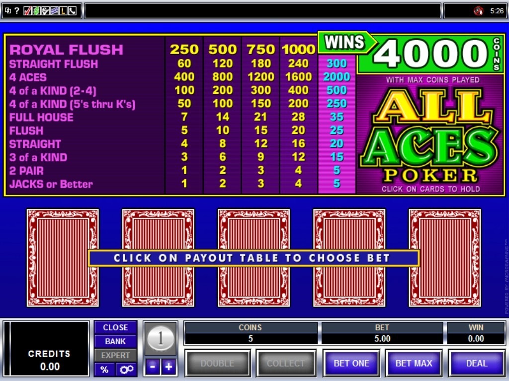 all aces video poker
