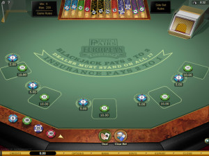perfect pairs blackjack table
